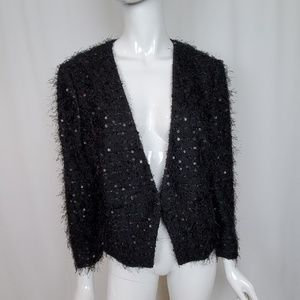 Ann Taylor Loft Black Fuzzy Sequin Open Jacket